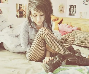 girl, bed, and boots image