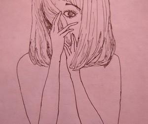 pink, girl, and art image