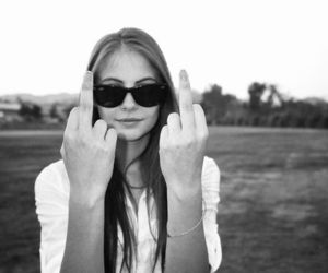 b&w, middle finger, and sunglasses image