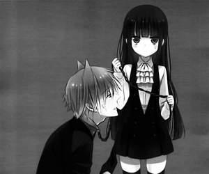 anime, anime girl, and black&white image