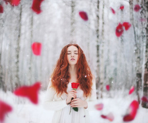 red, snow, and girl image