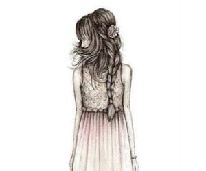 girl, drawing, and dress image