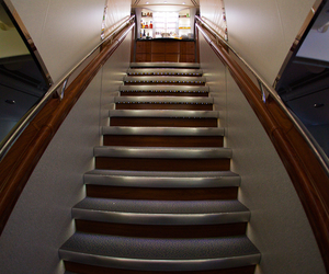 A380, luxury, and stairs image