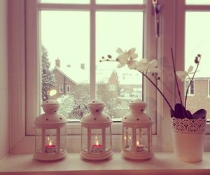 candle, flowers, and winter image