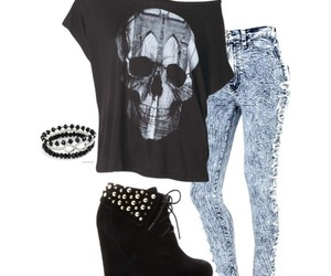 acid wash jeans, boots, and Polyvore image