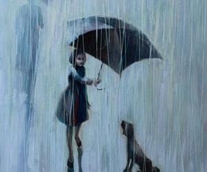 blue, rain, and dog image