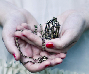 cage, necklace, and hands image