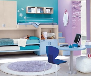 bedroom, blue, and purple image