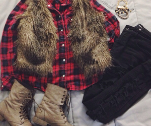 combat boots, fashion, and flannel image
