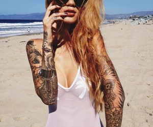 tattoo, girl, and beach image