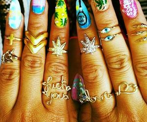 nails, rings, and nail art image