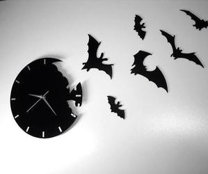 bats, clock, and gothic image