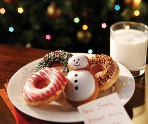 christmas, milk, and donuts image