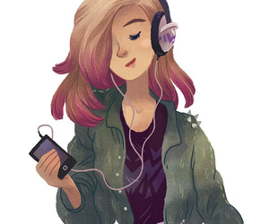 girl, music, and drawing image
