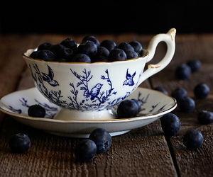 blueberries, teacup, and food image