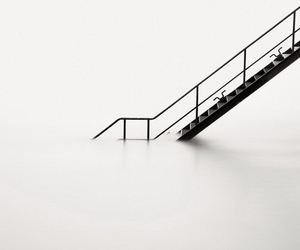 black and white and stairs image
