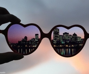 city, glasses, and heart image