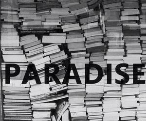 book, paradise, and black and white image