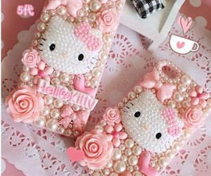 bow, flowers, and hello kitty image