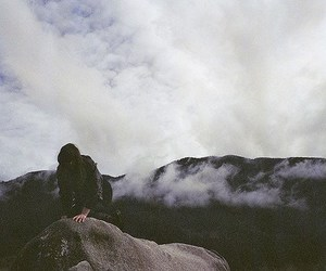 girl, clouds, and mountains image
