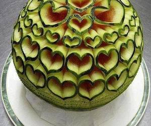 watermelon, heart, and art image