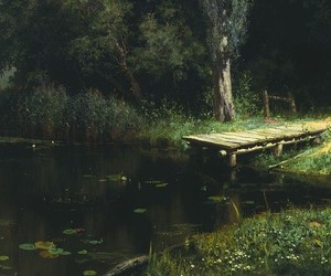 lake, painting, and pond image