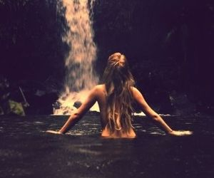 girl, waterfall, and water image