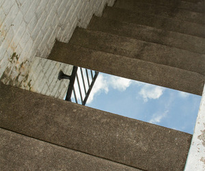 sky, stairs, and mirror image