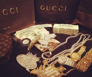 gucci, money, and gold image