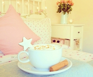 pink, coffee, and room image