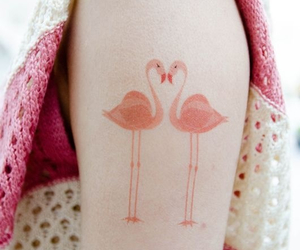 tattoo, pink, and flamingo image