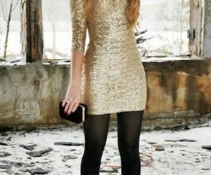 dress, outfit, and gold image