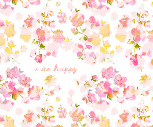happy, flowers, and pink image
