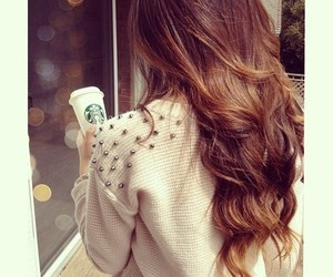 hair, starbucks, and curly image