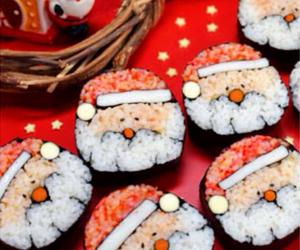 christmas, santa, and sushi image