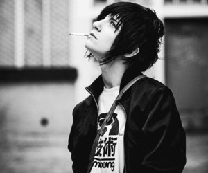 boy, black and white, and emo image