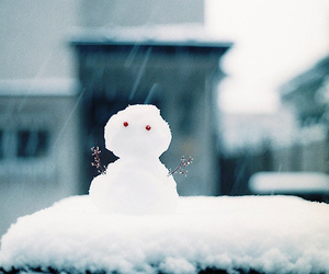 cute, snow, and snowman image