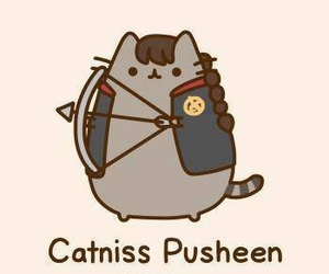 pusheen, cat, and katniss image