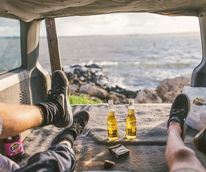 beach, beer, and sea image