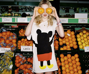 girl, orange, and mickey mouse image
