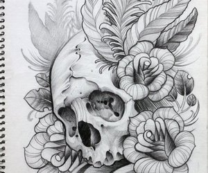 draw, skull, and tattoo image