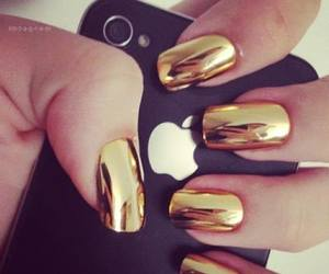 nails, iphone, and gold image