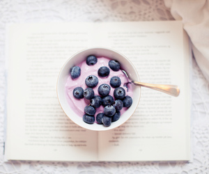 food, blueberry, and book image