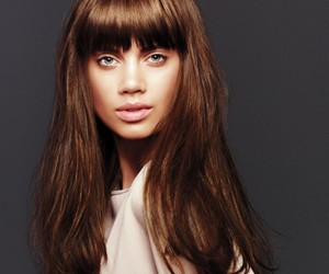 bangs, beauty, and brown image