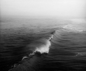 waves, black and white, and sea image