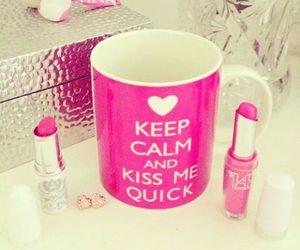 pink, lipstick, and keep calm image