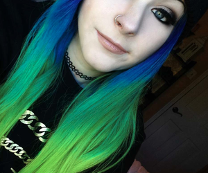 green, hair, and blue image