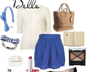 belle, blue, and disney image
