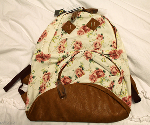 backpack, floral, and pretty image