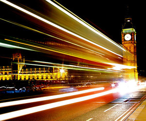 Big Ben, bus, and color image